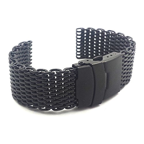 Commodore-18mm-PVD-Black-Stainless-Steel-Shark-Mesh-Watch-Band-Strap