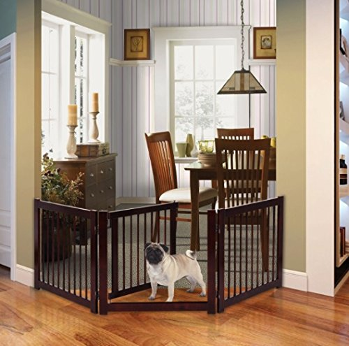 Cherry Finish Wood 3 Panel Freestanding Pet Gate With Door Barrier Fence - Cherry Finish Three Panel