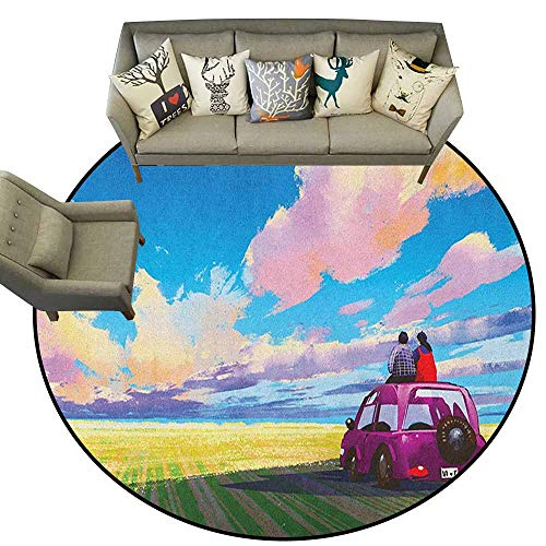 - Hedda Clare Distressed Style Circular Rug,Country,Young Couple Sitting on Car in Front of Dramatic Landscape Farmhouse Soul Mates Print, Multi,for Kitchen Floor Bathroom6 feet