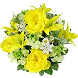 Admired By Nature Artificial Tiger Lily, Peony & Hydrangea Foliage Mixed Flowers Bush - 24 Stems for Memorial Day, Cemetery Floral or Home, Restaurant, Office Decor - Yellow