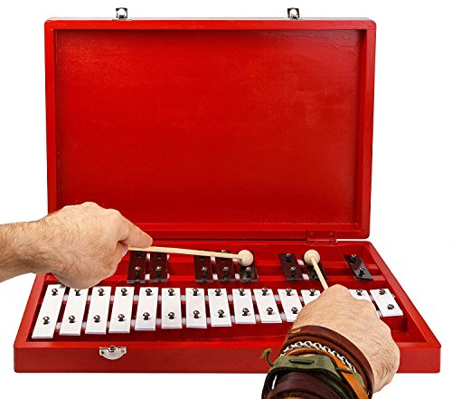 Glockenspiel Xylophone 25-Note Chromatic Glockenspiel in Wooden Case by inTemenos