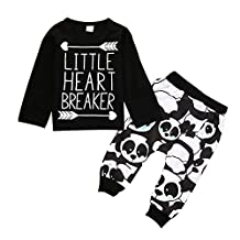 Little Boys Long Sleeve Letters Print T-shirt and panda Pants Outfit