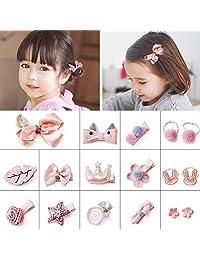 SOMIER 18pcs Bow-knot Hair Clip Set Little Girls Princess Headwear Set Assorted Hair Barrettes Scrunchies for Baby Kids-Pink