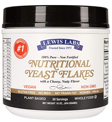 Lewis Labs Nutritional Yeast mini Flakes (1 lb.) - 100% Pure, NON-Fortified, NON-GMO, Gluten Free, Vegan, Kosher- Whole Food-Plant Based Protein, Vitamin B Complex, 18 Amino Acids- Delicious Taste (Best Nutritional Yeast Brand)