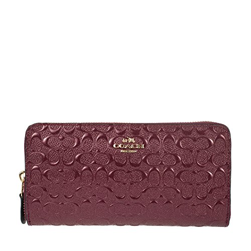 Coach Signature Debossed Patent Leather Accordion Zip Wallet, F54805 (Oxblood) by Coach