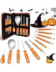 Halloween pumpa snideri set, 11 stycken skärverktyg pumpa rostfritt stål pumpa snideri verktyg professionellt pumpasnideri med förvaringsväska