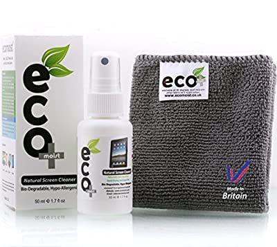 EcoMoist Natural Organic Screen Cleaner with Microfiber Cleaning Cloth Best Spray Kit For TV Computer Laptop Lcd Led by EcoMoist