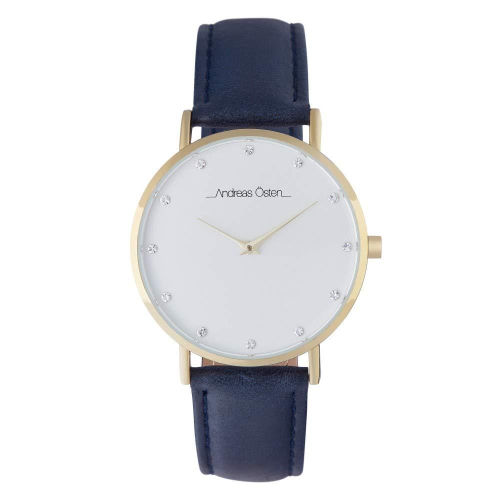 Andreas Osten Unisex Quartz Watch 36 mm White Dial and Blue Navy PU Bracelet AOW18029
