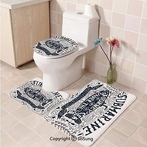 3pcs/Set Nautical Decor Style Soft Comfort Flannel Toilet Mat,Vintage Lettering Print Submarine Journey Under The Sea Spirit of Adventure,Plush Bathroom Decor Mat with Non Slip Backing, -