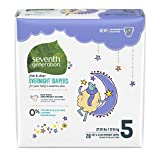 : Seventh Generation Baby Free & Clear Overnight Diapers, Stage 5, 27-35lbs, 80 Count (Packaging May Vary)