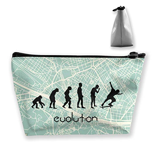 Jonathan Sidney Evolution Skateboarding Womenâ€s Travel Cosmetic Bags Small Makeup Clutch Pouch Cosmetic And Toiletries Organizer Bag