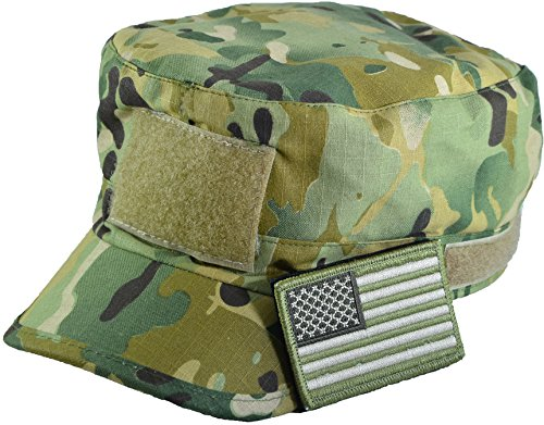 mo Military Army Camouflage Adjustable Patrol Fatigue Cap with USA Flag Patch (Multitan) (Camouflage Usa Made Fatigue Cap)