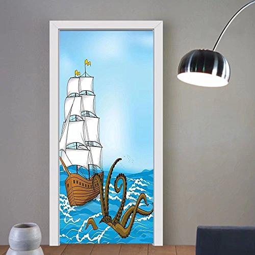 Gzhihine custom made 3d door stickers Kraken Decor Old Sailing Ship in Waves and Kraken Adventure Journey Travel Graphic Image Blue Brown For Room Decor 30x79 by Gzhihine
