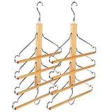 BESTOOL Pants Hangers, Wooden Pant Hangers, Non Slip Wood Hangers Clothes Hangers for Closet Space Saving, Heavy Duty Coat Hanger Huggable Baby Hangers, Dual-use Trouser Hanger
