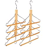 BESTOOL Wooden Hangers-Clothes Hangers Pants Hangers Closet Organizer Wood Space Saving Coat Hanger Rack Non Slip Storage Hangers for Coat Pants Scarf Towel Trousers (2 Pack) (2)