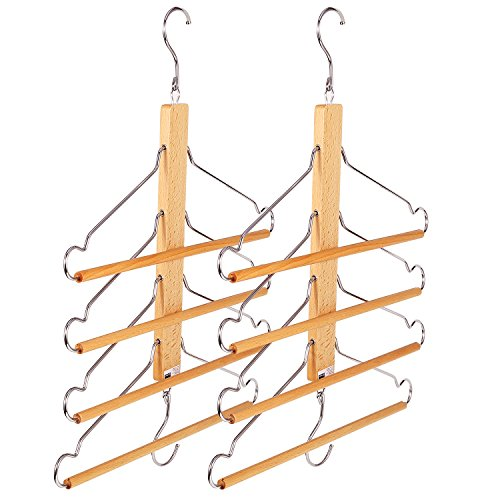 BESTOOL Wooden Hangers-Clothes Hangers Pants Hangers Closet Organizer Wood Space Saving Coat Hanger Rack Non Slip Storage Hangers for Coat Pants Scarf Towel Trousers (2 Pack) (2) by BESTOOL