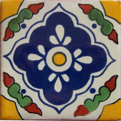 6x6 4 pcs Guadalajara Talavera Mexican Tile by Fine Crafts & Imports