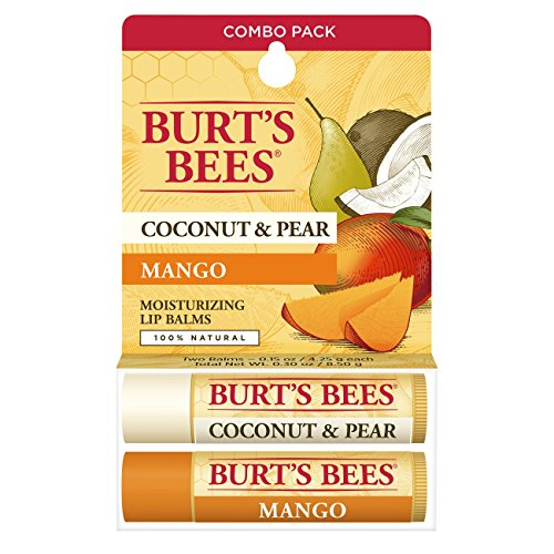Burt's Bees 100% Natural Moisturizing Lip Balm, Coconut & Pear and Mango with Beeswax & Fruit Extracts - 2 Tubes