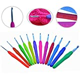 #8: Crochet Hooks Set AMERICAN LETTER Sizes 12 Ergonomic Handles B 2.25mm - L 8mm EXTREMELY COMFORTABLE Grips Perfect For Arthritic Hands - SMOOTH & EXTRA Long Shaft Perfect for Super Chunky Yarns