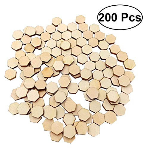 (SUPVOX 200pcs Wood Discs Slices Hexagonal Shape Unfinished Wooden Cutouts Craft DIY Decoration)
