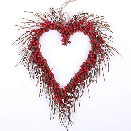 idyllic Heart Wreath Handmade Red Berry Heart Shaped Wreath Rustic Twig for Door Decorative Classic Outdoor Indoor Decor 18 Inches Valentine's Wreath (Door Heart)