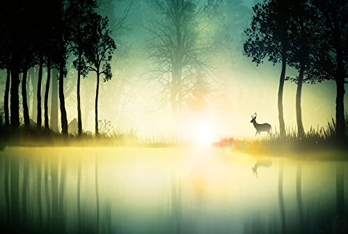 Adult Jigsaw Puzzle Landscape Forest Deer Silhouette Nature Trees Mist 500-Pieces
