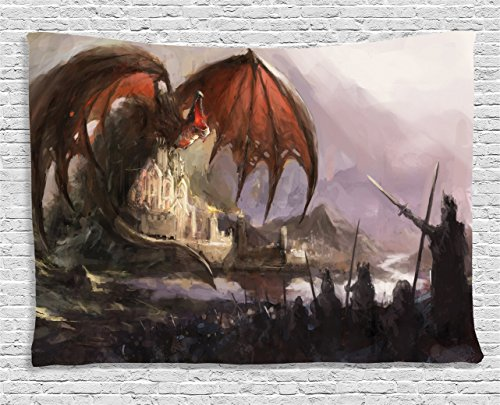 Cheap Ambesonne Dragon Decor Collection, Medieval Fantasy Theme Dragon and Dark Knights in Battle Scene with Fortress Castle, Bedroom Living Room Dorm Wall Hanging Tapestry, 80 X 60 Inches, Grey Rustic Red