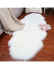 HUAHOO 2 x 6 ft Faux Fur Rug White Fluffy Rug Comfy White Shag Rug Thick Fuzzy Rug