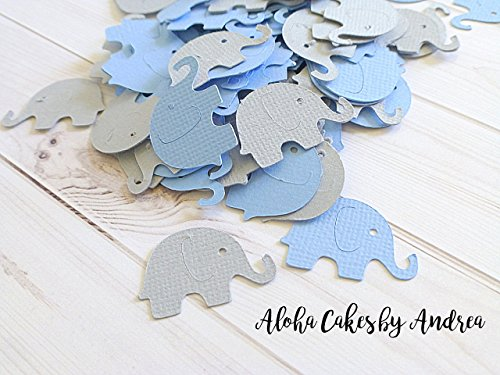 Blue and Gray Elephants, Table Confetti, Its a Boy Baby Shower Decoration, Elephant Theme and Ideas for a Party, set of (Elephant Baby Shower Theme)