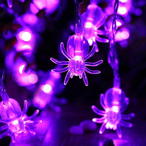 Icicle Spider Halloween String Lights, 2 Pack Battery Powered 20 Led 9.51ft Halloween Decoration Lights, Not Include Battery (Purple)