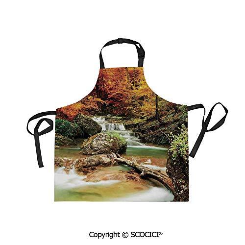 - SCOCICI Printed Unisex Kitchen Bib Apron with Pockets Adjustable Neck,Autumn Seasonal Woodland Creek Trees Foliage Rocks in Forest Image,for Cooking Baking Gardening