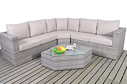 Rústico ángulo esquina ratán sofá: Amazon.es: Hogar