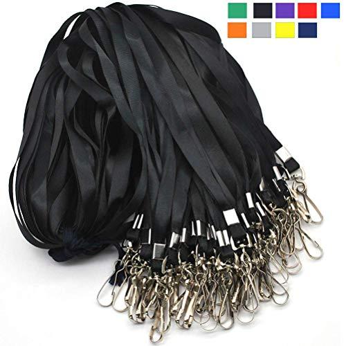 Black Lanyard Bulk Lanyards for Id Badges Flat Lanyard with Badge Clip Swivel Hook Beebel 50 Pack