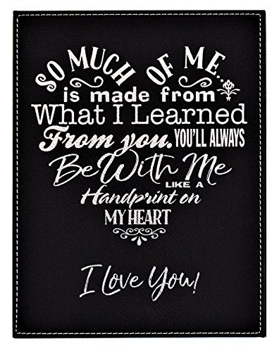 GIFT DAD MOM ~ A Loving Heart Felt Poem Plaque ~ Inspirational Words Engraved in a Heart Shape on Elegant Black Leatherette ~ Christmas Birthday Fathers Mothers Day Gift (7x9, Black&Silver) ()