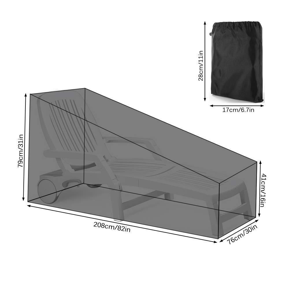 Copertura per Sedia a Sdraio Coperture per Mobili da Giardino Impermeabile e Resistente ai Raggi UV (82L x 30W x 31H) HONCENMAX Copertura per Lettini Prendisole