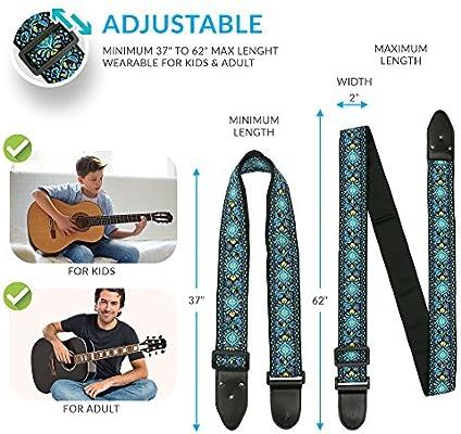 Correa de guitarra de estilo folk – Pack de colgador de guitarra ...