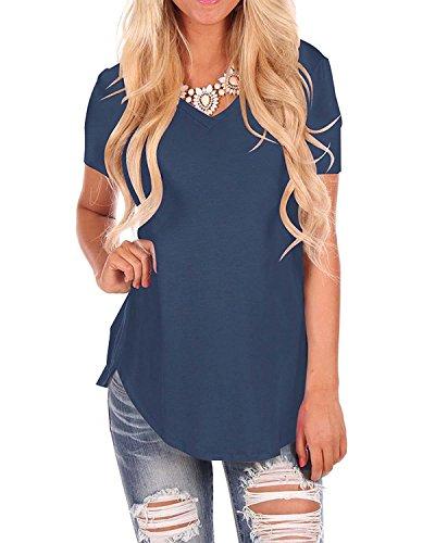 Doris Women's Casual Tunic Top Short Sleeve V-Neck Sweatshirt Basic Tees Tops Blouse Navy Blue L
