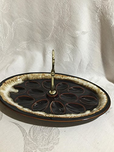 (Vintage USA Brown Drip Deviled Egg Tray, Cheese Serving Tray with Handle)
