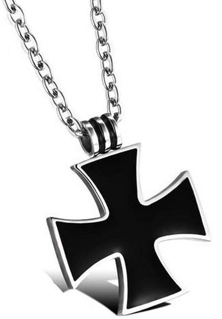 Amazon.com: Collar con colgante de cruz de hierro negro con ...