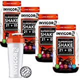 INVIGOR8 Superfood Shake (4 Pack Chocolate + Free Shaker Bottle) Gluten-Free Non GMO Meal Replacement Grass-Fed Whey Protein Shake with Probiotics and Omega 3 (2580g)