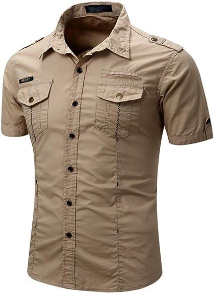 LIUXING-TUMI Camisa Casual de Hombre Slim Fit Camisa de Manga ...