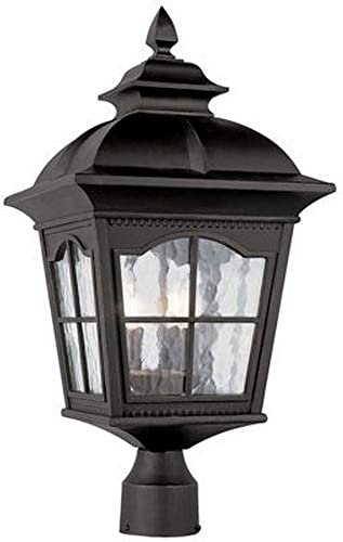 Trans Globe Lighting Trans Globe Imports 5425 BK Traditional Four Light Postmount Lantern from Briarwood Collection in Black Finish, 13.00 inches