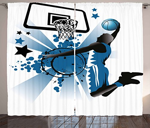 """Ambesonne Teen Room Curtains, Silhouette of Basketball Player Jumping Success Stars Illustration, Living Room Bedroom Window Drapes 2 Panel Set, 108"""" X 84"""", Blue Black"""