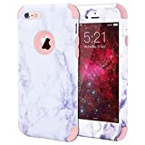 iPhone 6 Plus Case, WE LOVE CASE Shockproof  360 Degree Full Protection iPhone 6S Plus Case Marble  PC Plastic Hard Back Silicone Bumper Protective Cover iPhone 6 Plus Shock Proof Case Drop Defend Heavy Duty Apple iPhone 6S Plus Case Rose Gold