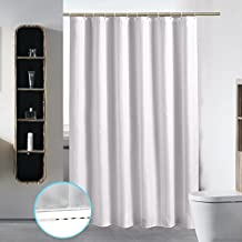 Extra Long Washable Shower Curtain Liner Bathroom Waterproof Fabric Cloth Mildew Resistant Polyester (Best Hotel Quality Eco Friendly Damask Stripe) with Curved Plastic Hooks Set - 72 x 84, White