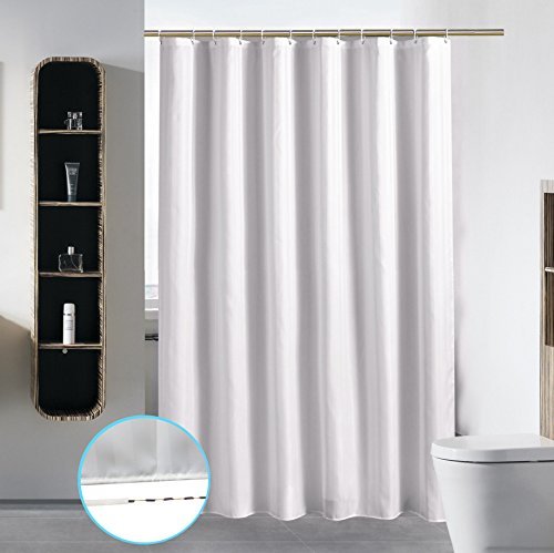 Bathroom Shower Curtain Liner Waterproof Fabric Mildew Resistant Washable Polyester (Hotel Quality Eco Friendly Sheer Damask Stripe) with Heavy Duty White Plastic Hooks - Standard 72 x 72, White (Curtains Fabric Outdoor)