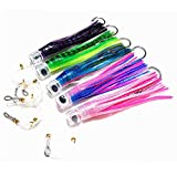 Kunsilane Fishing Lure Set of 5 Trolling Tuna Skirt Lures,8 inch Fishing Saltwater Lures with Rigged and Hooks Big Game Fishing Lures