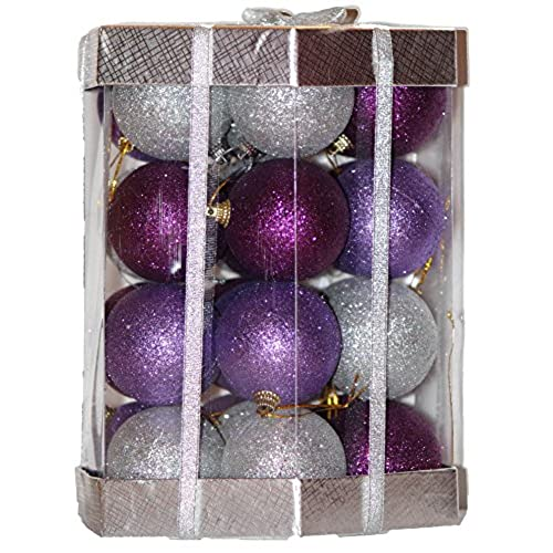 28 count glitter christmas ball ornaments set purple lilac silver glitter mix - Purple And Silver Christmas Decorations