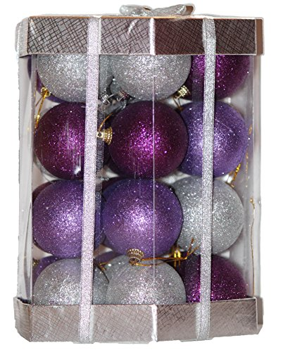 28 Count Glitter Christmas Ball Ornaments Set (Purple / Lilac /