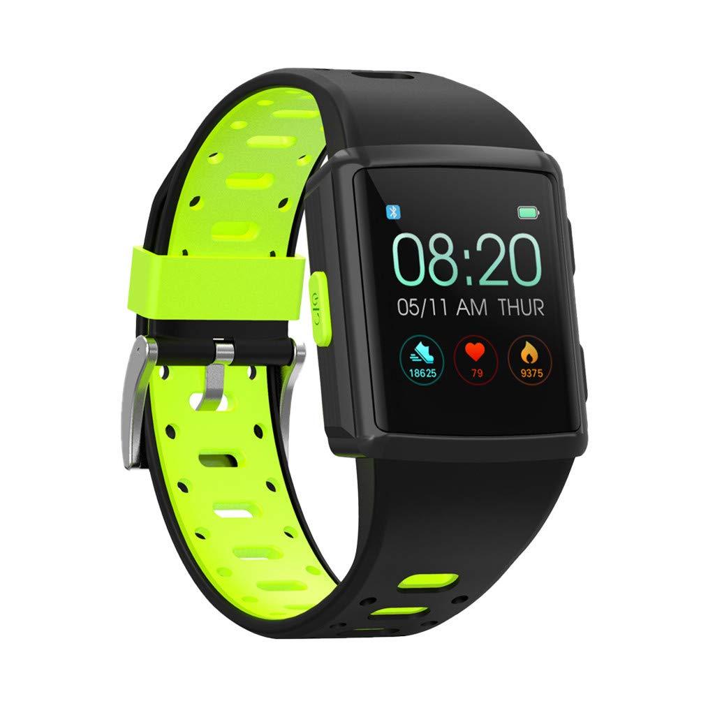 YNAA for iOS Android, Waterproof Sport Smart Watch, Smart Bracelet Blood Pressure Heart Rate Monitoring Tracker GPS Watch (Green)